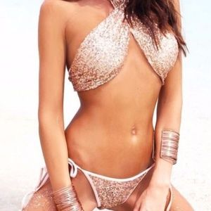 Rose Gold Sequin Two-Piece Swimsuit